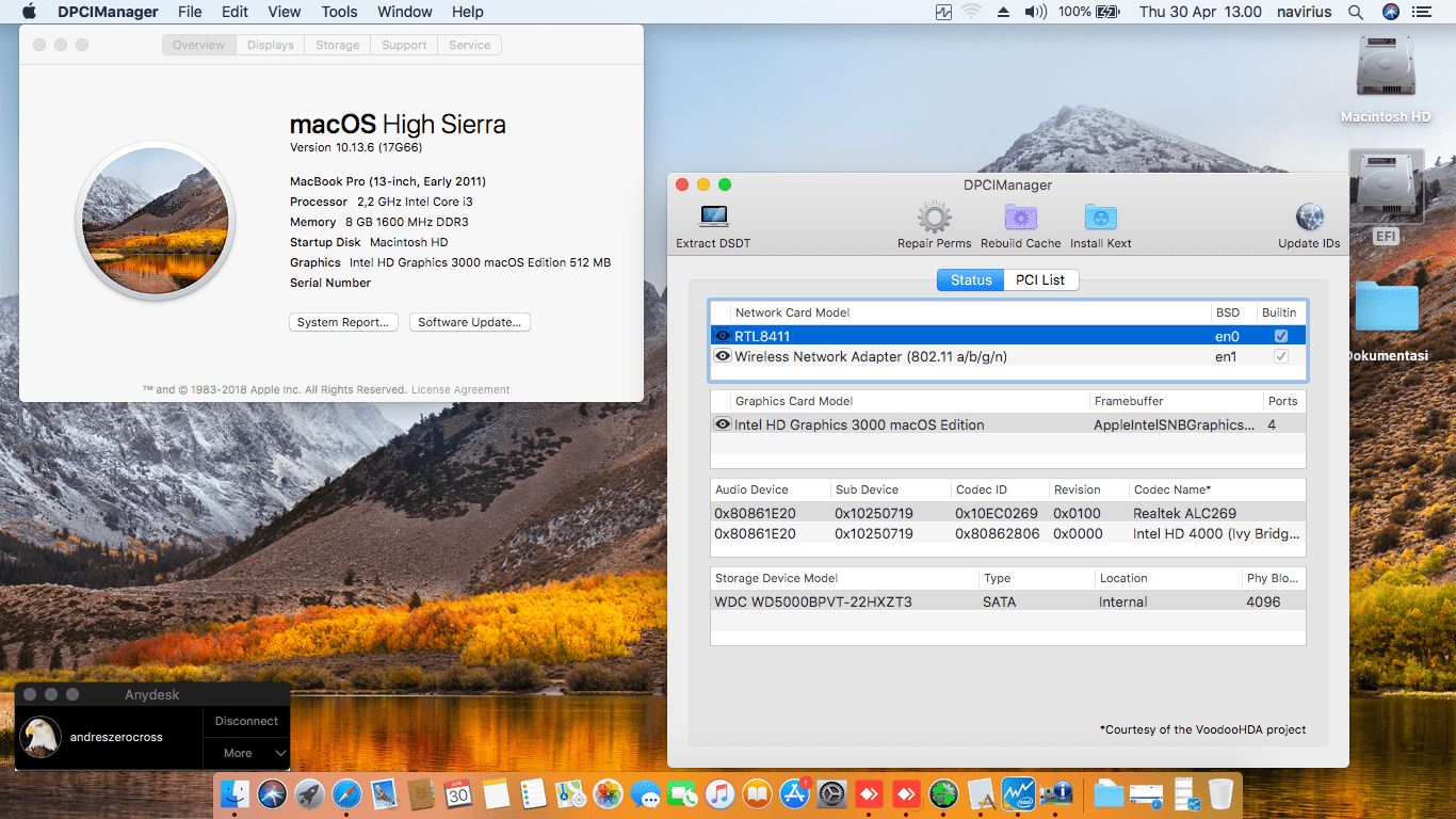 Success Hackintosh macOS High Sierra 10.13.6 Build 17G66 in Acer Aspire E1-471